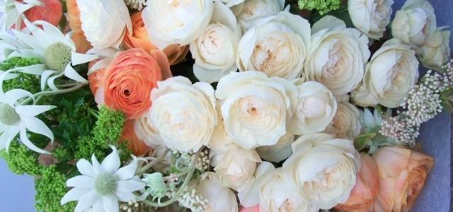 香りの良いバラのフェアビアンカとオレンジ色のラナンキュラスの花束
