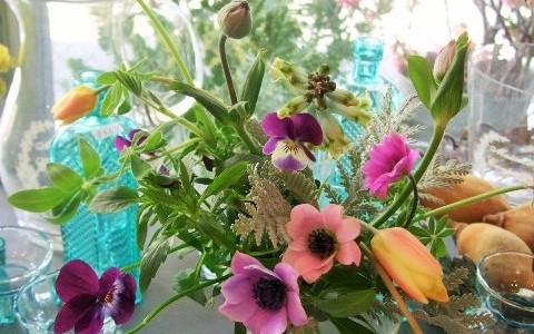 原種アネモネと小さな球根切り花
