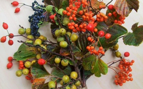 山の木の実と万作の花束