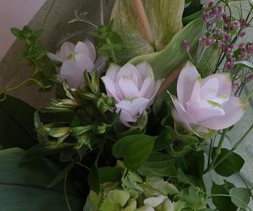 クルクマ&秋色紫陽花、グリーンミックスの花束