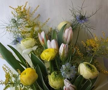 チューリップとラナンキュラスのパステルカラーの花束