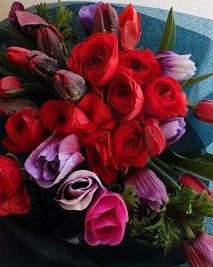 チューリップとラナンキュラス、赤と紫色のゴージャスな花束